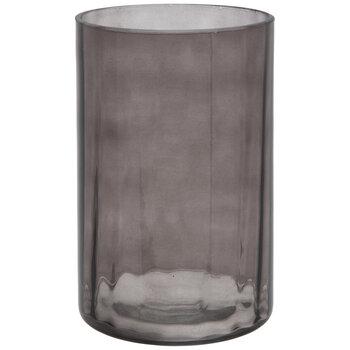 Charcoal Ridged Glass Vase