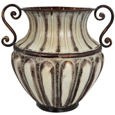 Copper Patina Ornate Metal Vase