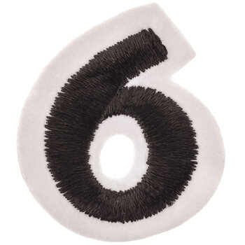 """Black Embroidered Iron-On Number 6 - 1 1/2"""""""