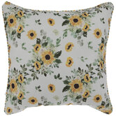 Sunflower & Striped Pillow Cover