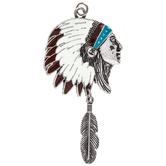 Headdress Pendant With Feather Dangle