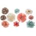 Mint, Rose Pink & Ivory Flower Embellishments