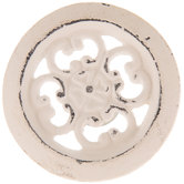 Distressed White Medallion Metal Knob