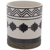 White & Black Geometric Flower Pot