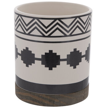 White & Black Geometric Flower Pot