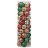 Red, Green & Gold Glitter Ball Ornaments