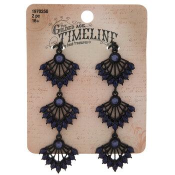 Black & Blue Rhinestone Fan Drop Pendants