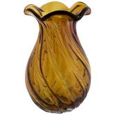 Amber Lotus Glass Vase