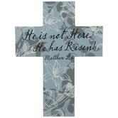 Blue Matthew 28:6 Wood Cross