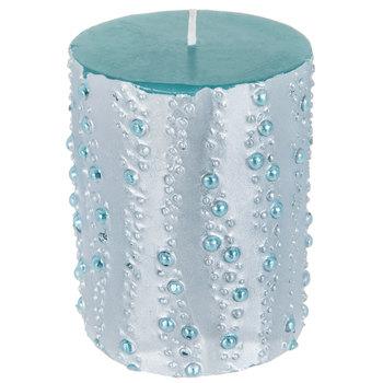 Blue Bubble Metallic Pillar Candle