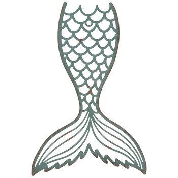 Turquoise Cutout Mermaid Tail Metal Wall Decor