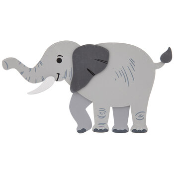 Elephant Painted Wood Shape