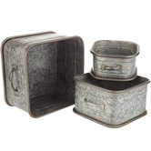 Galvanized Metal Rounded Box Set