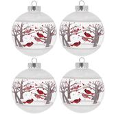 Winter Cardinals Ball Ornaments