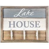 Lake House Wood Wall Decor With Hooks