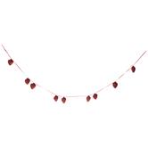 Red Glitter Hearts Garland
