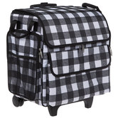 Black & White Buffalo Check Rolling Craft Tote