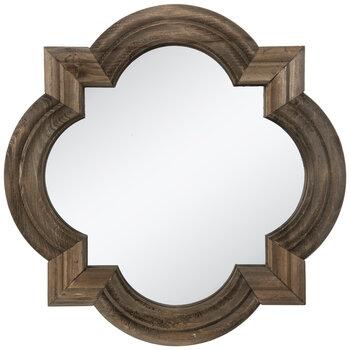 Rustic Quatrefoil Wood Wall Mirror
