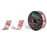 Bright Striped Single-Face Grosgrain Ribbon - 7/8""
