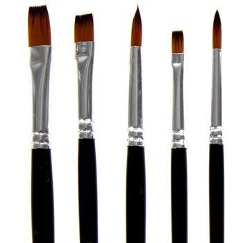 Gold Taklon Paint Brushes - 10 Piece Set
