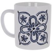 White & Blue Floral Mug