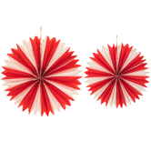 Red & White Carnival Paper Fans