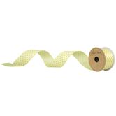 "Light Yellow Swiss Dot Wired Edge Grosgrain Ribbon - 1 1/2"""