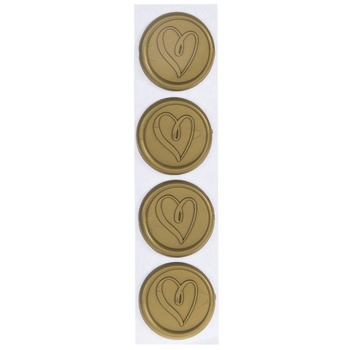 Gold Heart Envelope Seals