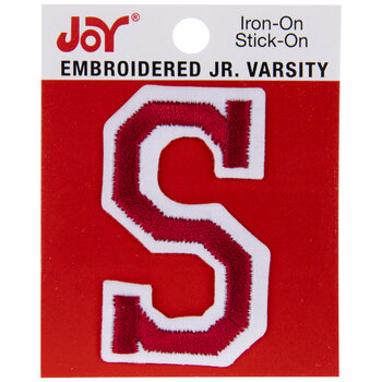 "Red Junior Varsity Letter Iron-On Applique S - 2"""