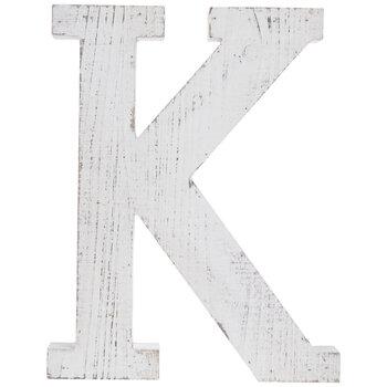 Whitewash Wood Letter Wall Decor - K