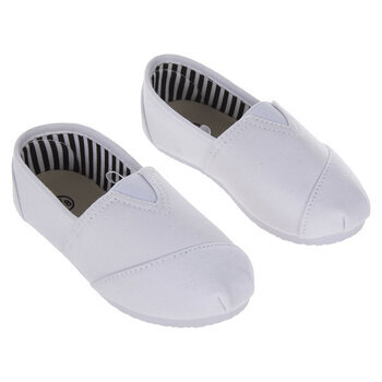 White Canvas Slip-On Toddler Shoes
