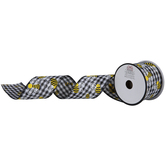 Bees Buffalo Check Wired Edge Ribbon - 2 1/2""