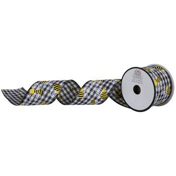 """Bees Buffalo Check Wired Edge Ribbon - 2 1/2"""""""