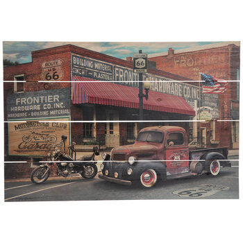 Route 66 Vintage Truck Wood Wall Decor