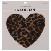 Leopard Faux Fur Heart Iron-On Applique