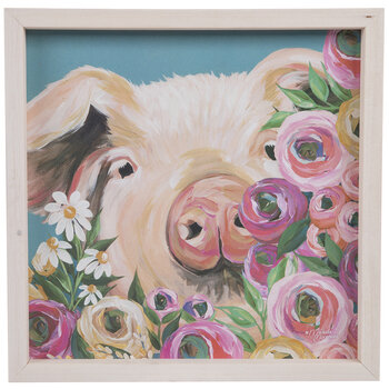 Pig In Flowers Wood Wall Decor