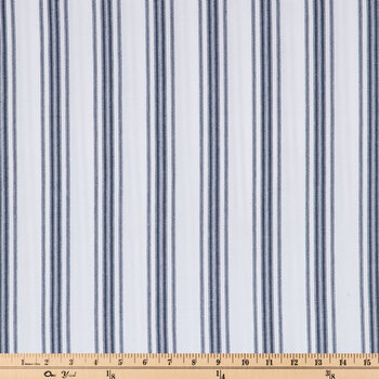 White & Blue Ticking Striped Duck Cloth Fabric