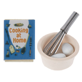 Miniature Whisk, Bowl, Cookbook & Eggs