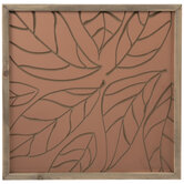 Copper Engraved Leaves Wood Wall Decor
