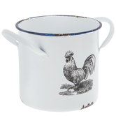 White Rooster Metal Pot