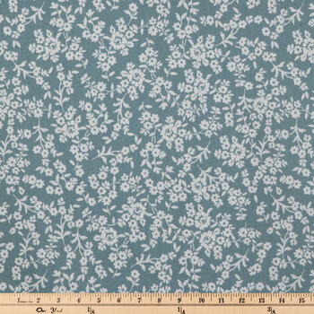 Blue & White Floral Duck Cloth Fabric