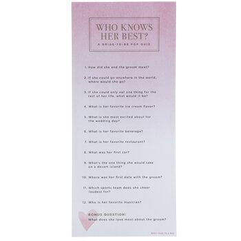 Bridal Shower Quiz