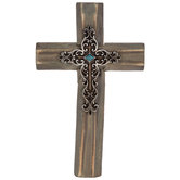 Brown & Silver Wood Wall Cross