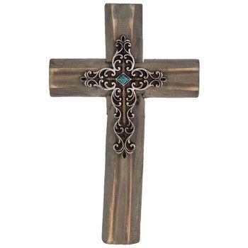 Brown & Silver Wood Wall Cross
