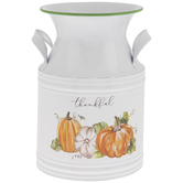 Thankful Pumpkins Metal Milk Can