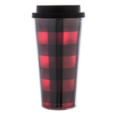 Red & Black Buffalo Check Cup