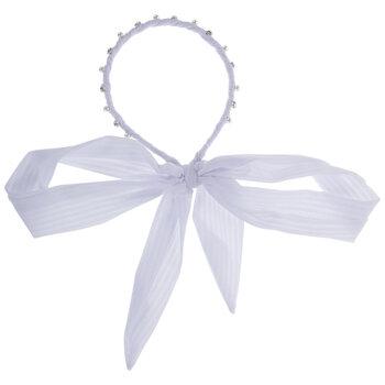 Rhinestone & Pearl Headband With Ribbon