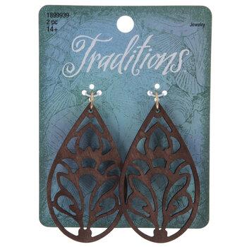 Ornate Teardrop Wood Pendants