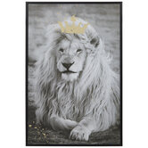 Lion With Gold Crown Wood Wall Decor