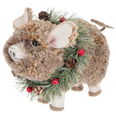 Textured Pig Wearing Wreath